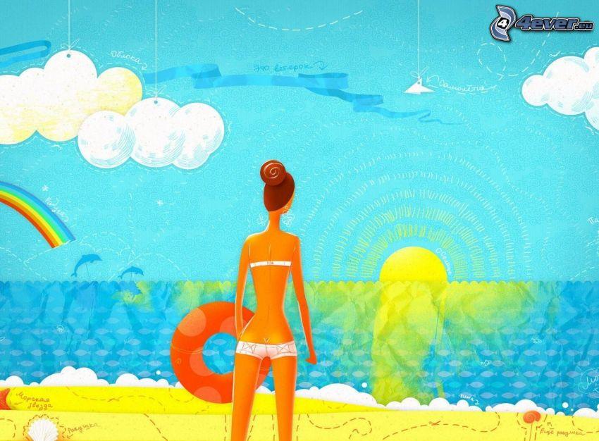 kreslená žena, žena v plavkách, plávacie koleso, slnko, more