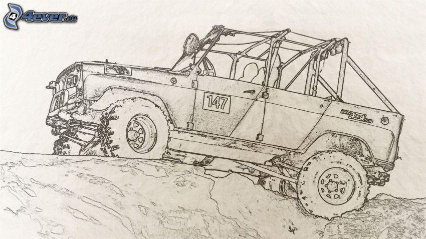 kreslené auto, Jeep