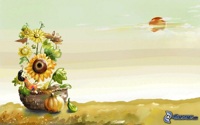 kreslené dieťa, košík, slnečnice