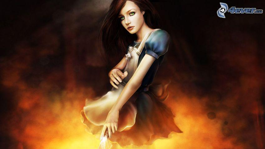 kreslené dievča, brunetka