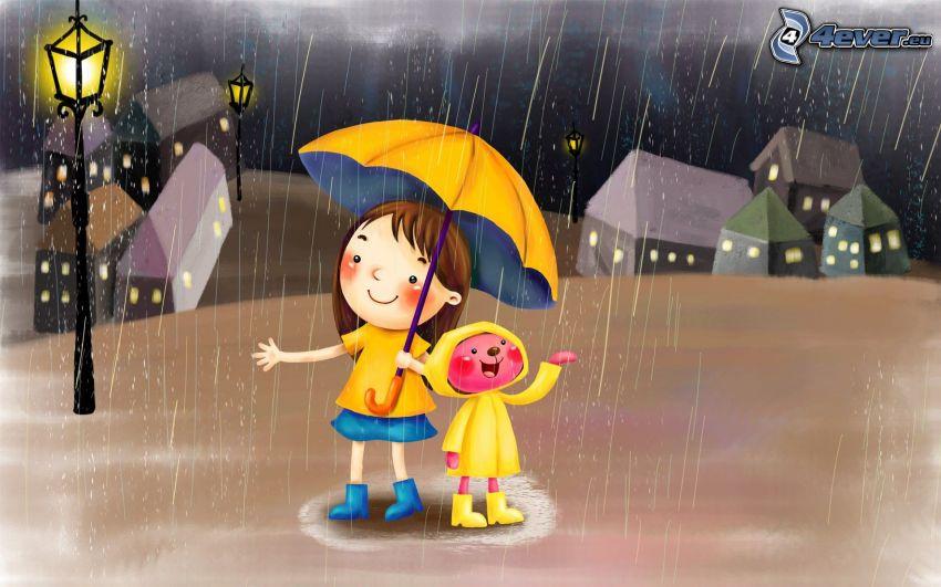 kreslené dievča, dáždnik, dážď, pouličná lampa, radosť