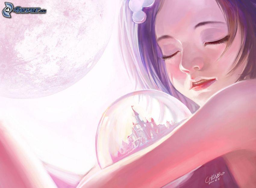 kreslené dievča, sklenená guľa