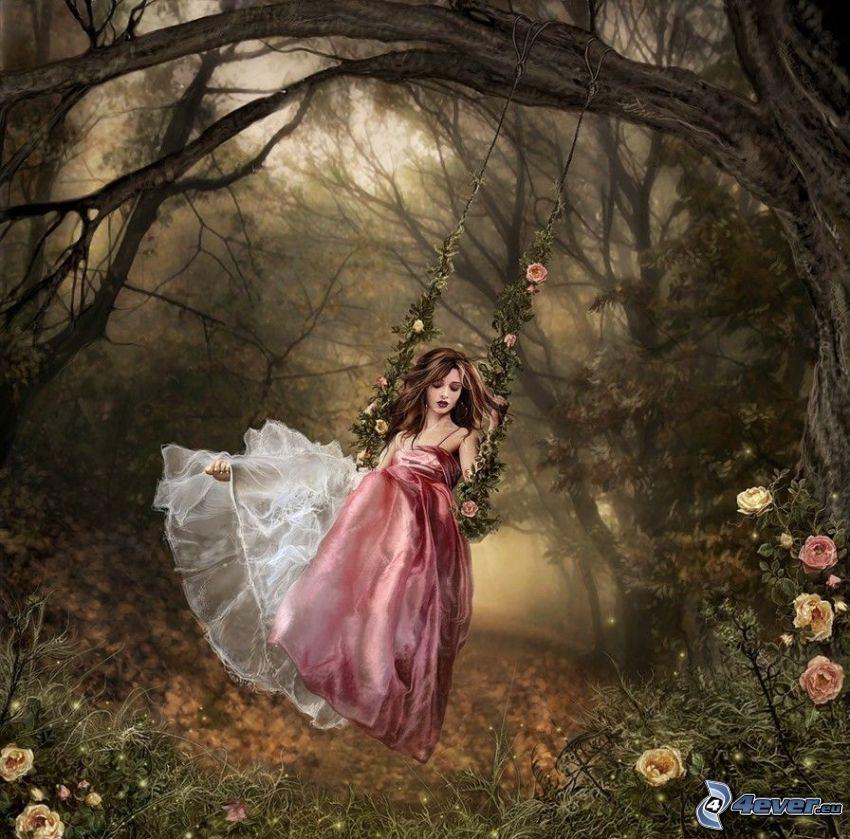 kreslené dievča, žena na hojdačke, les