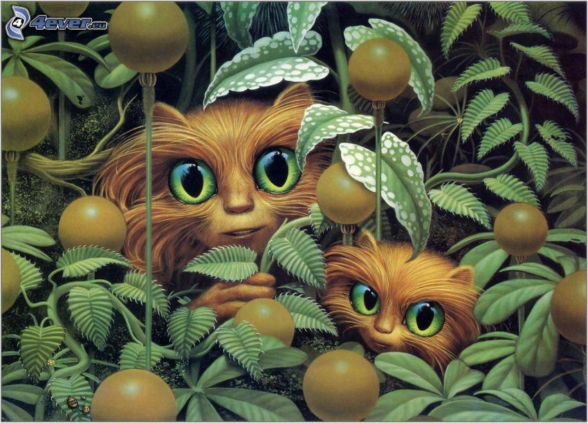 kreslené mačky, zelené listy