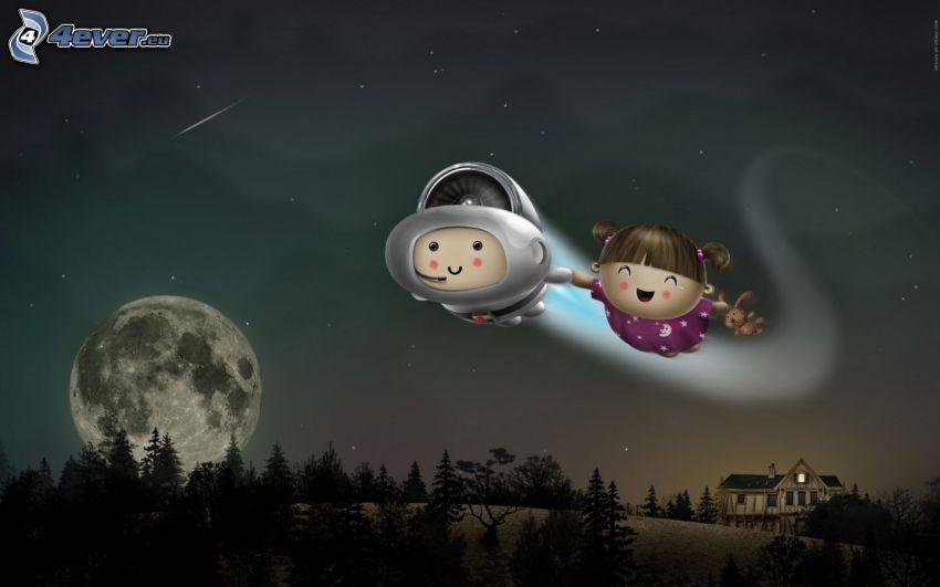 kreslené postavičky, let, noc, planéta, mesiac
