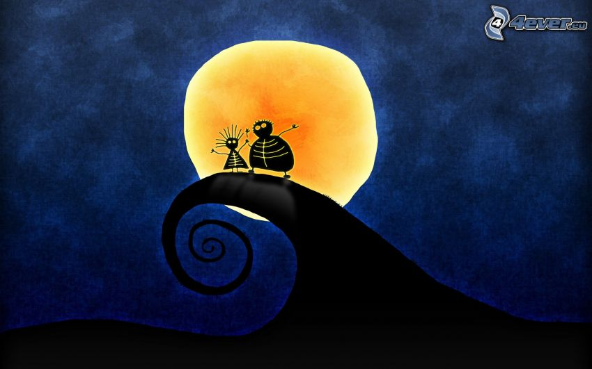 kreslené postavičky, vlna, mesiac