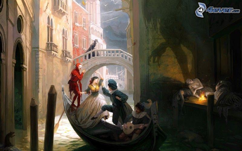 kreslené postavy, čln, Benátky