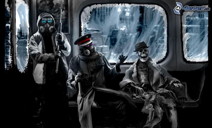 kreslené postavy, kostra, metro