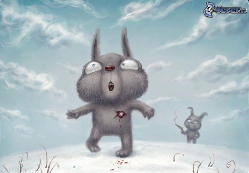 kreslené zajačiky, srdce