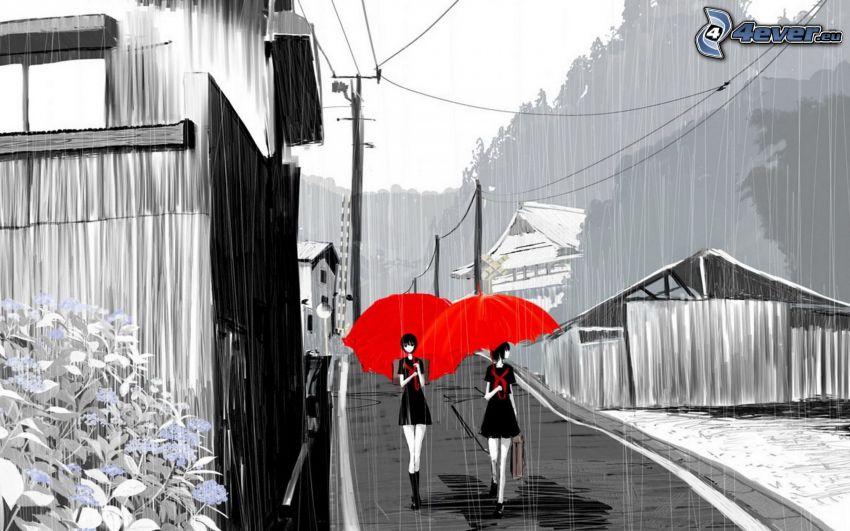 kreslené ženy, dáždniky, dážď