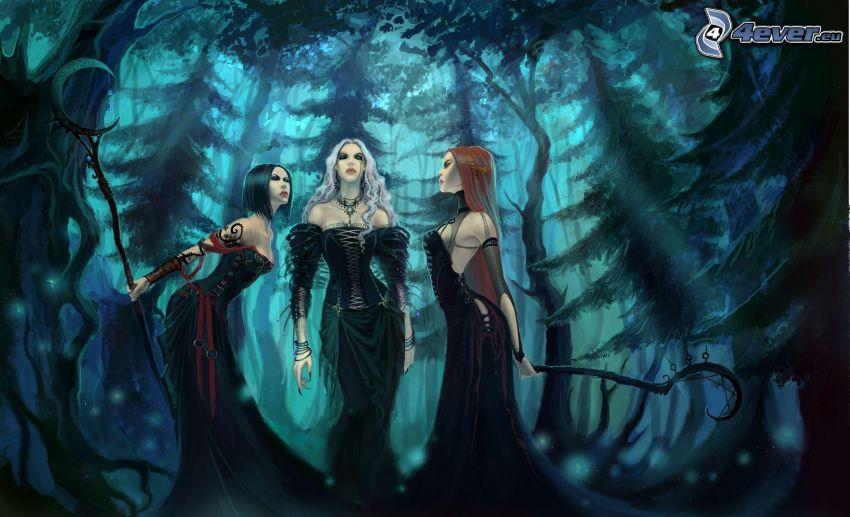 kreslené ženy, les