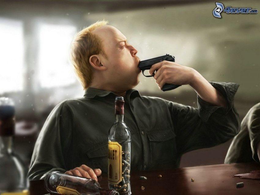 kreslený chlap, pištoľ, samovražda, fľaše, náboje