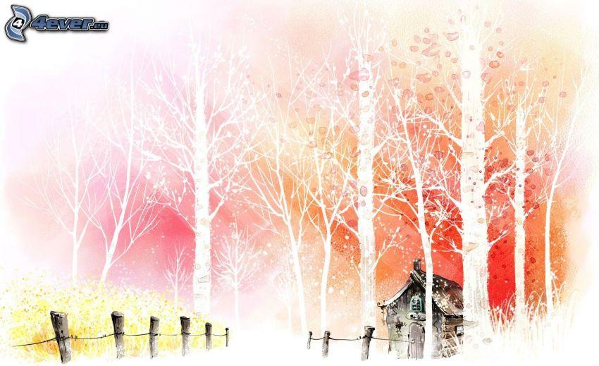 kreslený dom, stromy, plot