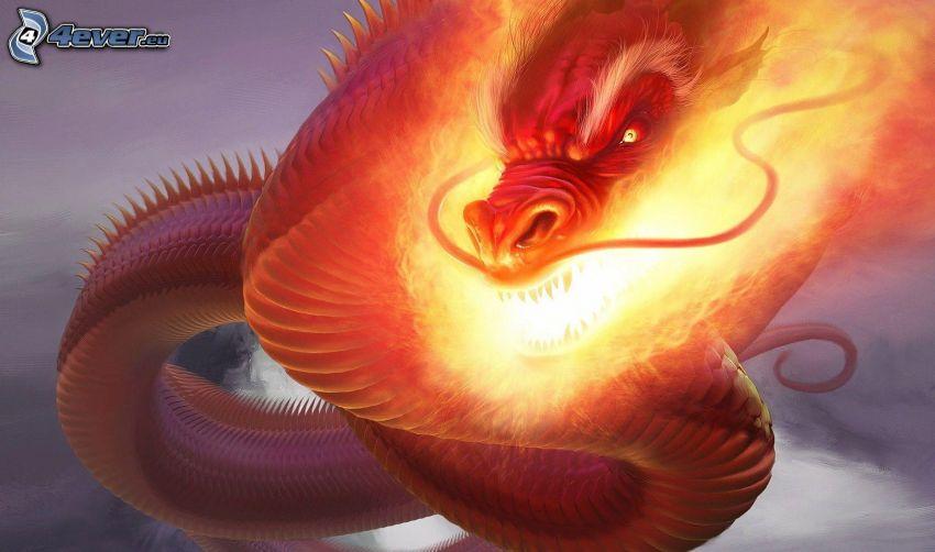kreslený drak, plameň