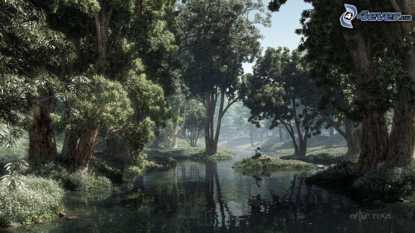 kreslený les, lesný potok