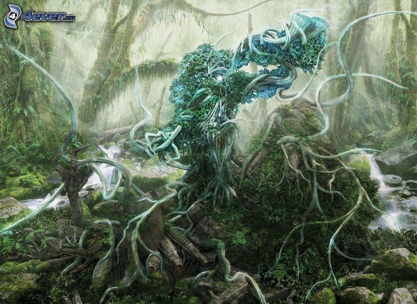 kreslený les