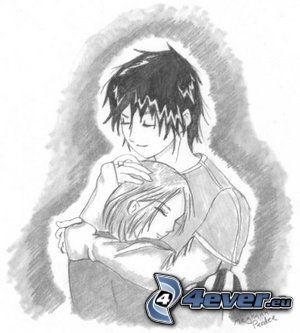 kreslený párik, objatie, láska