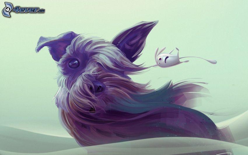 kreslený pes, blcha, vietor