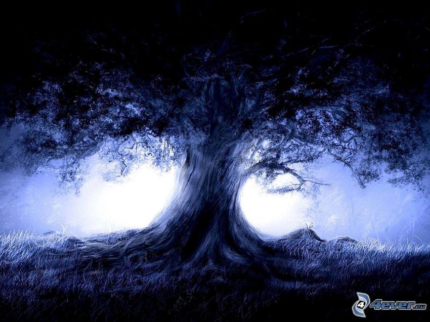 kreslený strom, mohutný strom