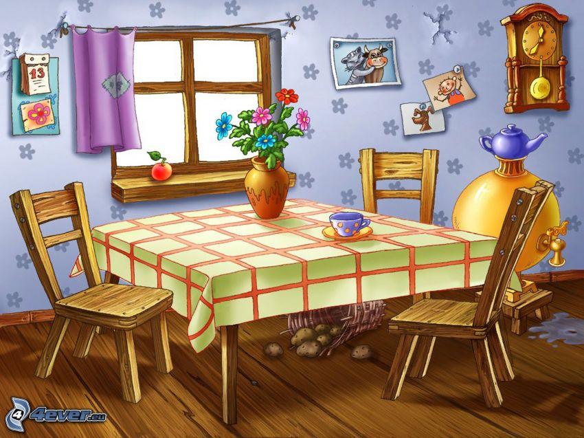 kuchyňa, stôl, stoličky, kvety vo váze, šálka, okno, červené jablko, hodiny