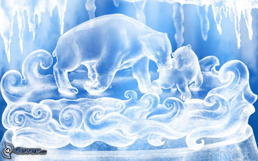 ľadové medvede, cencúle