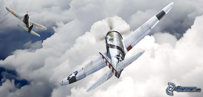 lietadlá, oblaky