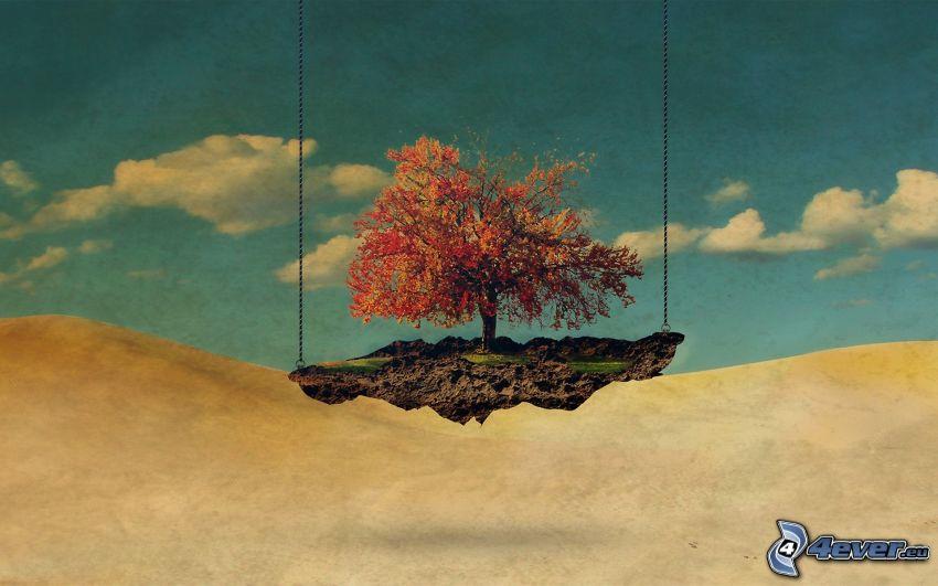 lietajúci ostrov, strom, obloha