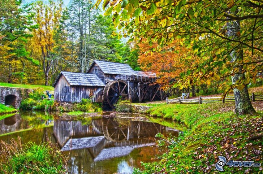 Mabry Mill, rieka, odraz, jesenné stromy