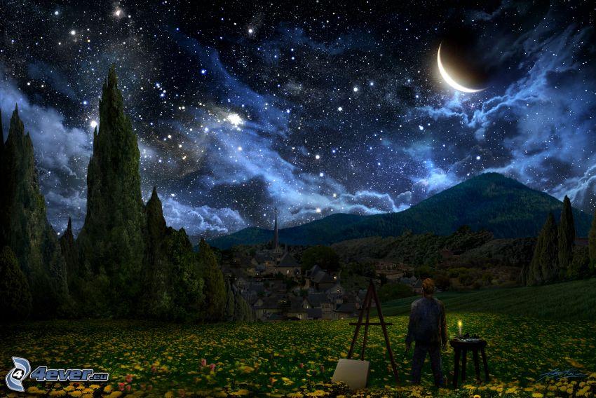 maliar, nočná obloha, krajina, mesiac, hviezdy, oblaky, pohorie, lúka