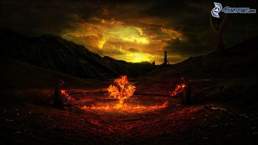 mních, oheň