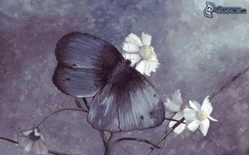 motýľ na kvete, kresba