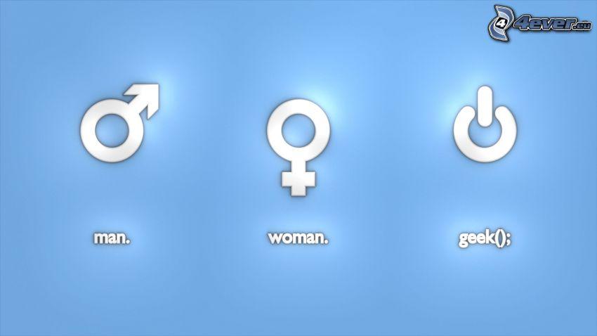 muž, žena, geek, znaky
