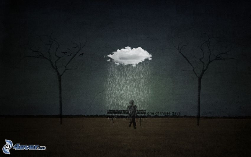 muž na lavičke, dážď