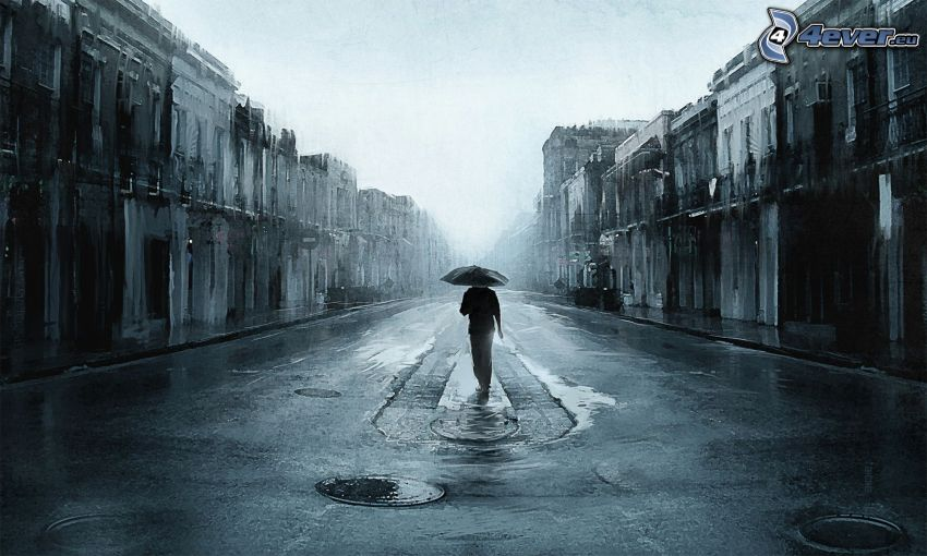 muž s dáždnikom, ulička, dážď
