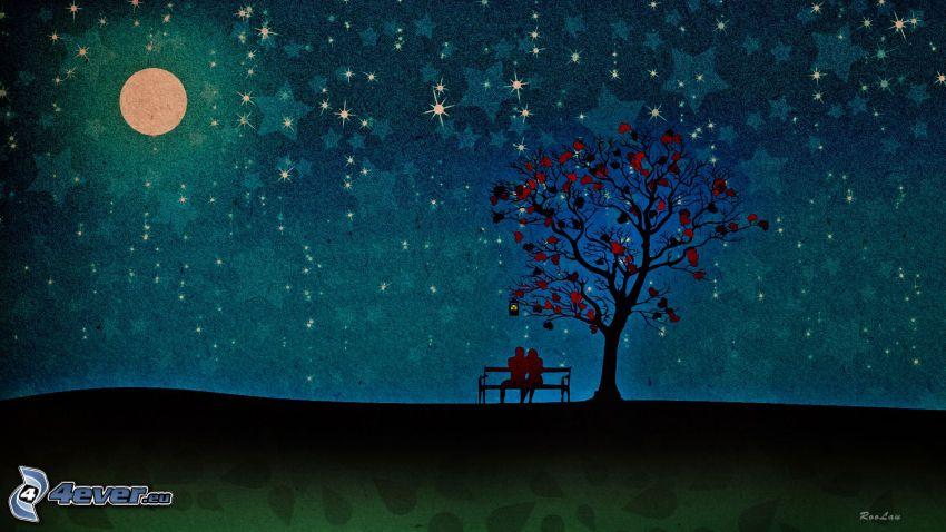 noc, mesiac, párik na lavičke, strom, hviezdy, srdiečka