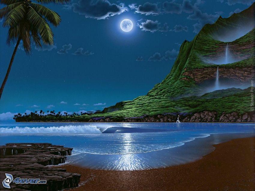 noc, more, pláž, kopec, vodopády, palma, mesiac