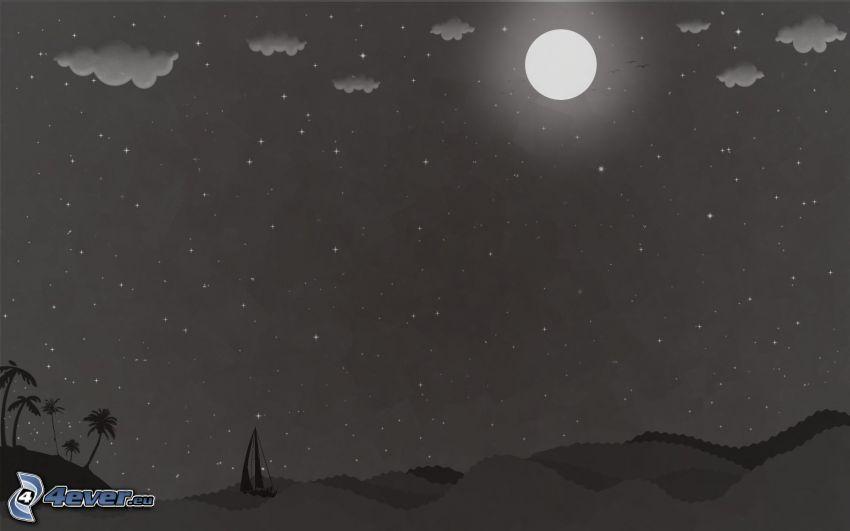 nočná krajina, mesiac, more, vlny, loďka na mori, nočná obloha