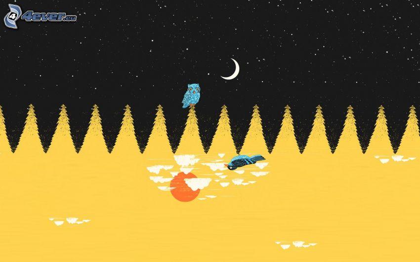 nočná krajina, sova, stromy, nočná obloha