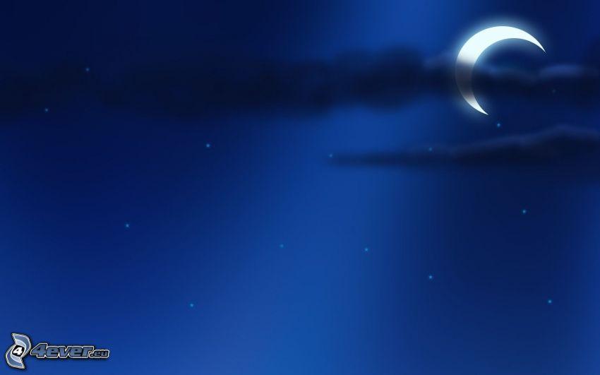 nočná obloha, mesiac, noc