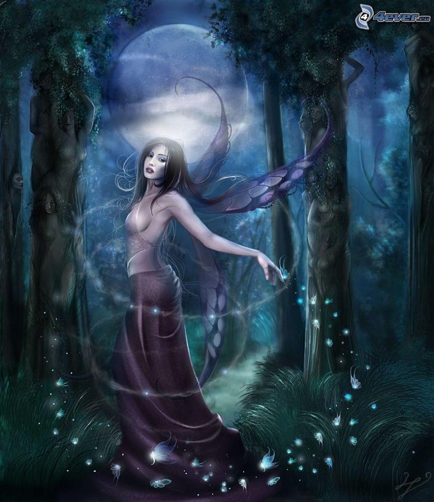 nočná víla, víla v lese, mesiac