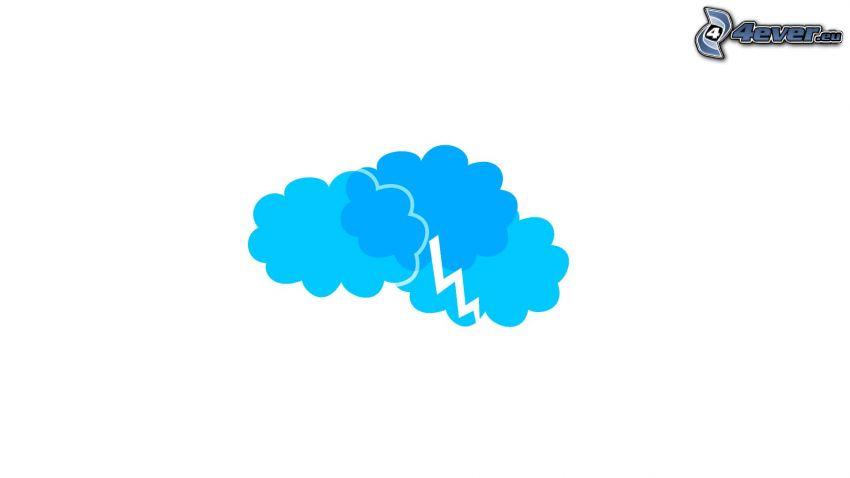oblaky, blesk