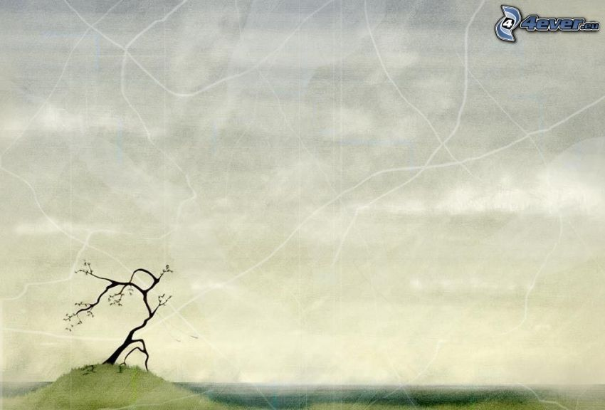 osamelý strom, kreslený strom