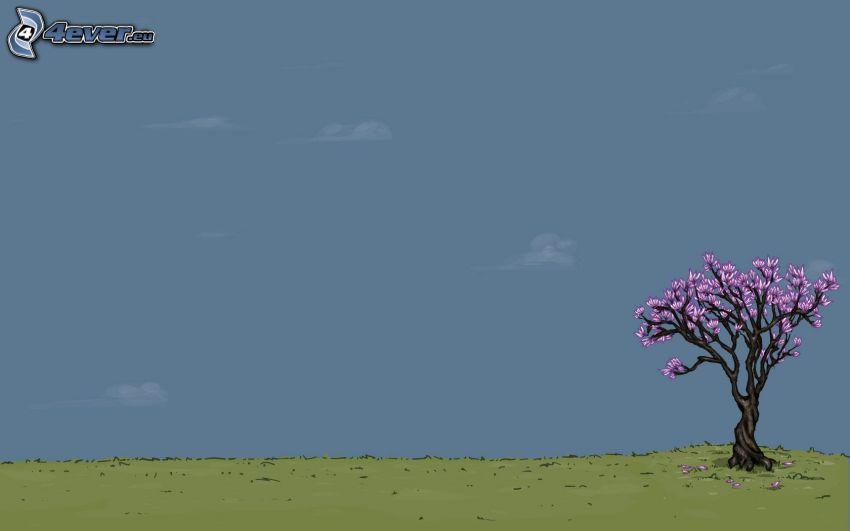 osamelý strom, strom na lúke, rozkvitnutý strom, kreslený strom