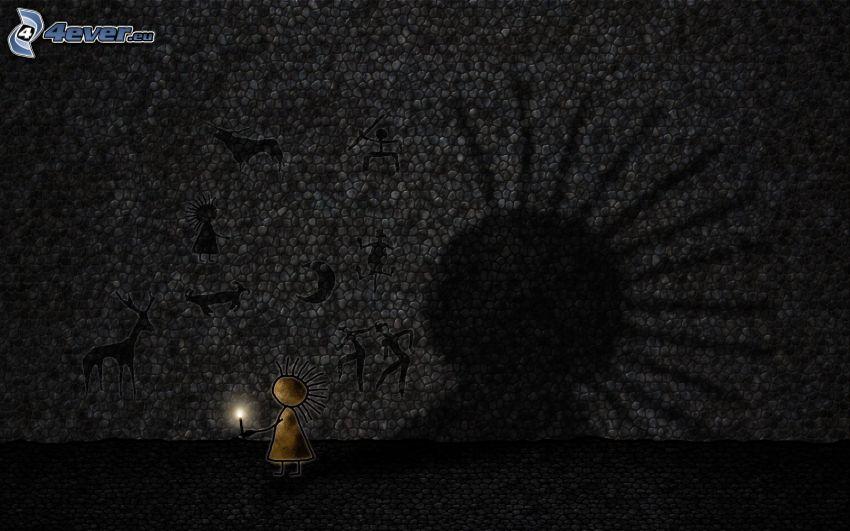 panáčik, sviečka, stena, kresby, tieň