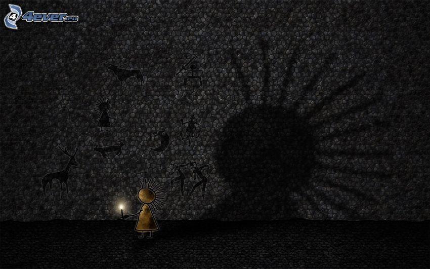 panáčik, sviečka, stena, tieň, kresby