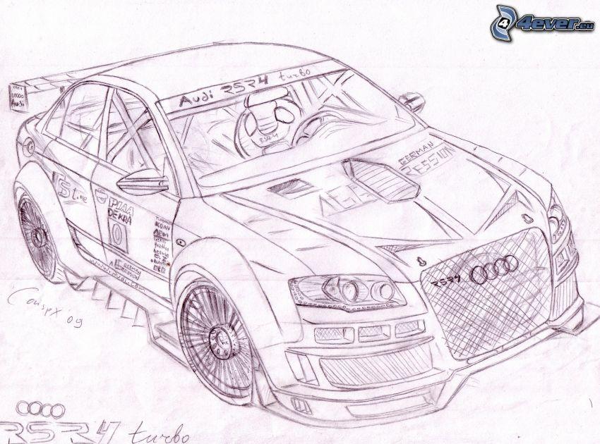 Audi RS4, športové auto, kreslené auto