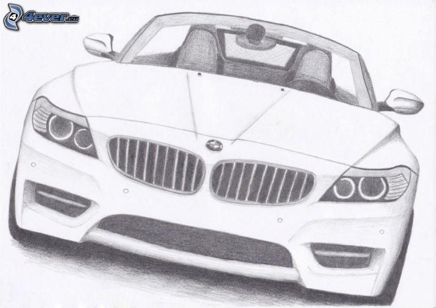 BMW, kreslené auto