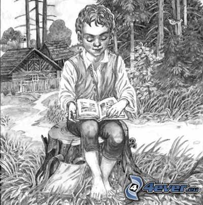 chlapček, les, kniha, chalúpka