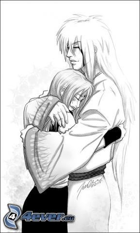 Jirayia, Tsunade, kreslený párik, rozprávka, objatie