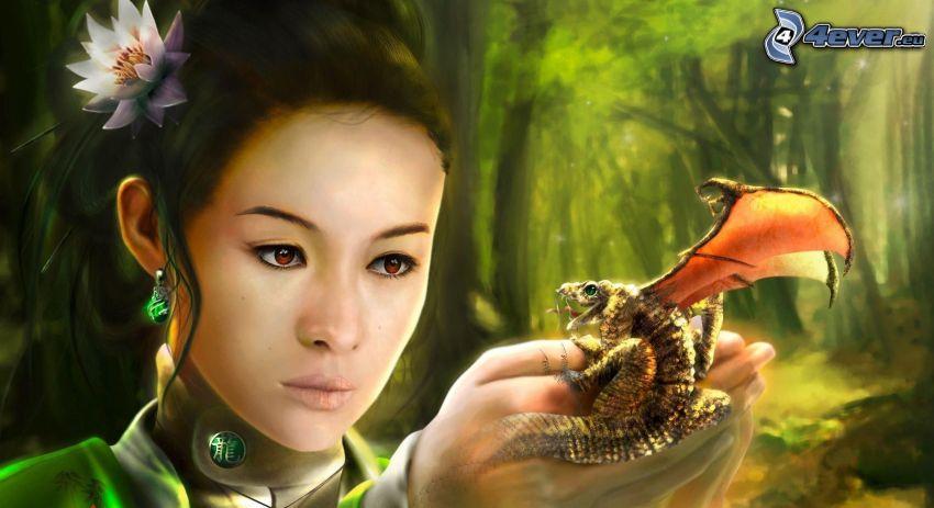 kreslená žena, drak